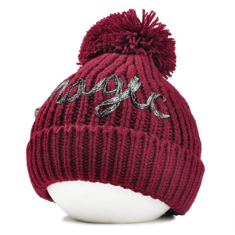 Outdoor Fuzzy Ball Embellished Flanging Knitted Beanie - WINE RED