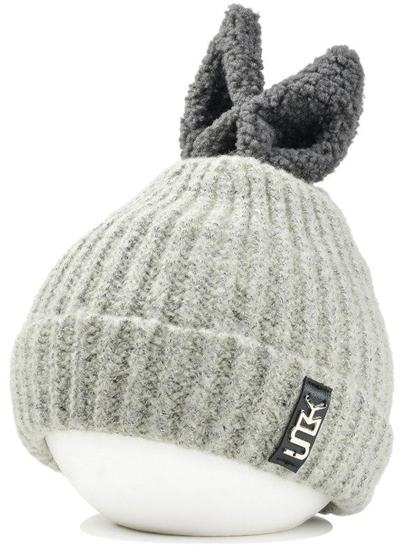 Cute Rabbie Ear Letter Label Decorated Knitted Beanie - OFF WHITE