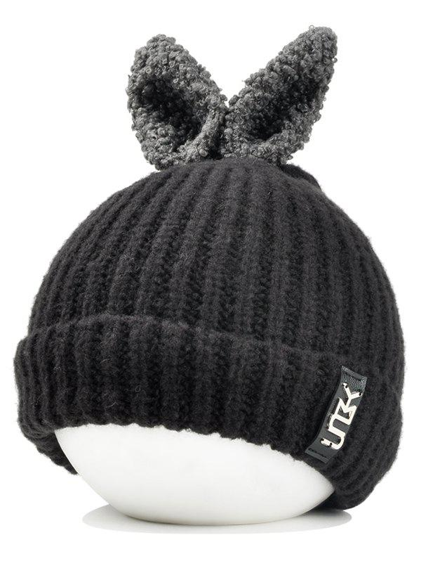 Cute Rabbie Ear Letter Label Decorated Knitted Beanie - BLACK