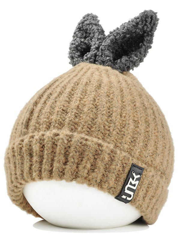 Cute Rabbie Ear Letter Label Decorated Knitted Beanie - KHAKI