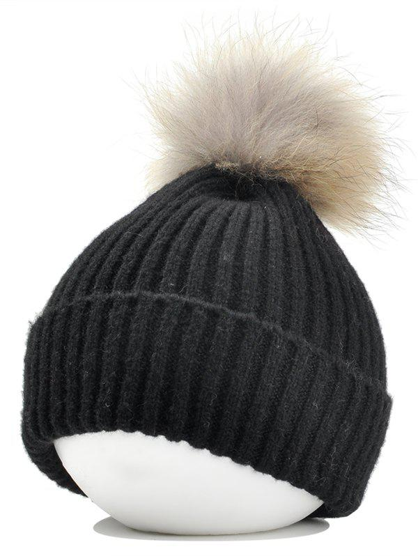 Fuzzy Ball Decorated Flanging Crochet Knitted Beanie - BLACK