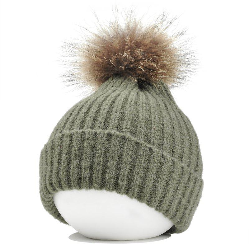 Fuzzy Ball Decorated Flanging Crochet Knitted Beanie - BLACKISH GREEN