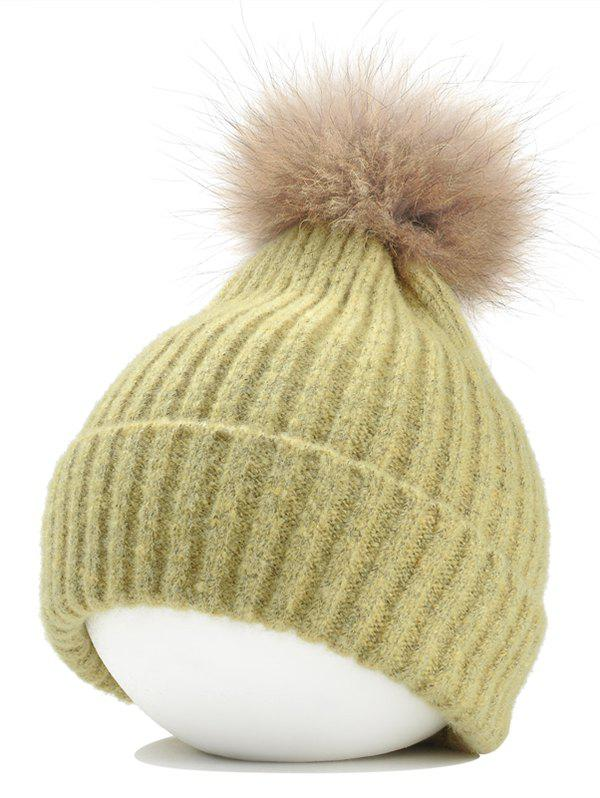 Fuzzy Ball Decorated Flanging Crochet Knitted Beanie - YELLOW
