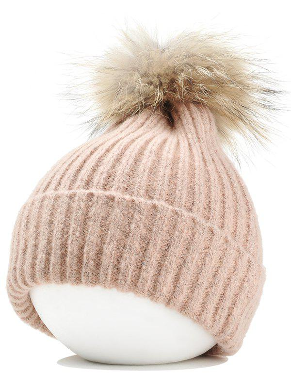 Fuzzy Ball Decorated Flanging Crochet Knitted Beanie - PINK