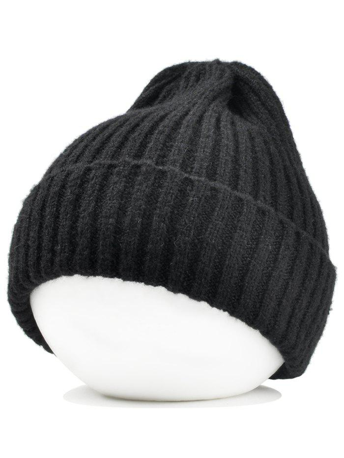 Flanging Embellished Crochet Knitted Lightweight Beanie - BLACK
