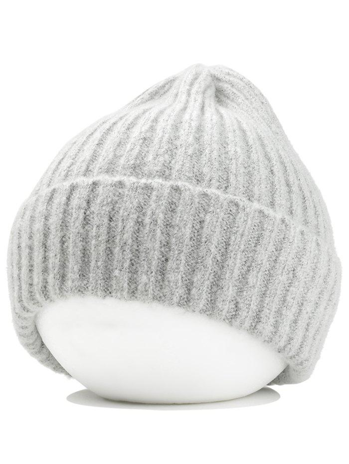 Flanging Embellished Crochet Knitted Lightweight Beanie - LIGHT GRAY