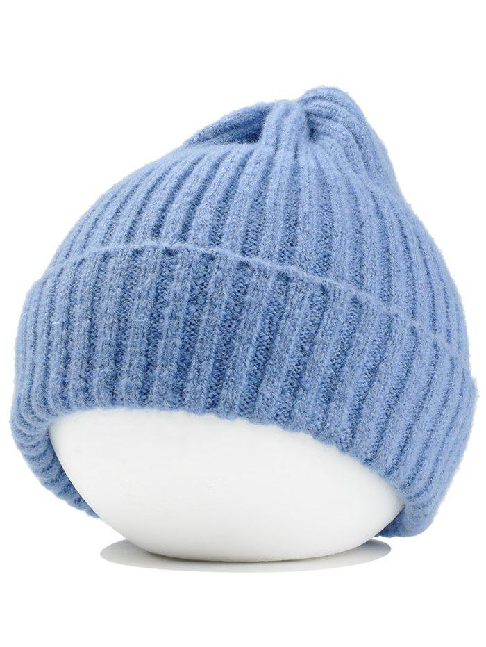 Flanging Embellished Crochet Knitted Lightweight Beanie - LIGHT BLUE