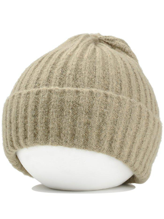 Flanging Embellished Crochet Knitted Lightweight Beanie - KHAKI