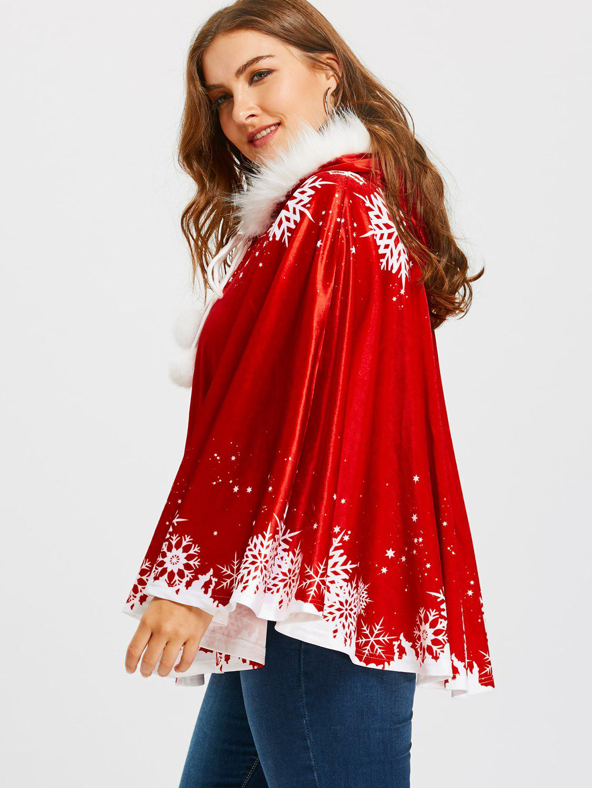 Christmas Snowflake Printed Plus Size Velvet Cape Coat - RED ONE SIZE