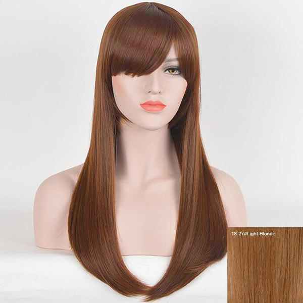 Long Inclined Fringe Straight Human Hair Wig - LIGHT BLONDE