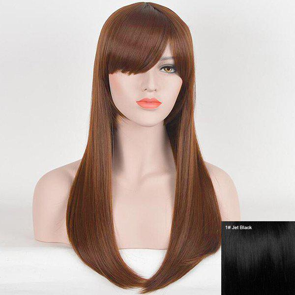 Long Inclined Fringe Straight Human Hair Wig - JET BLACK