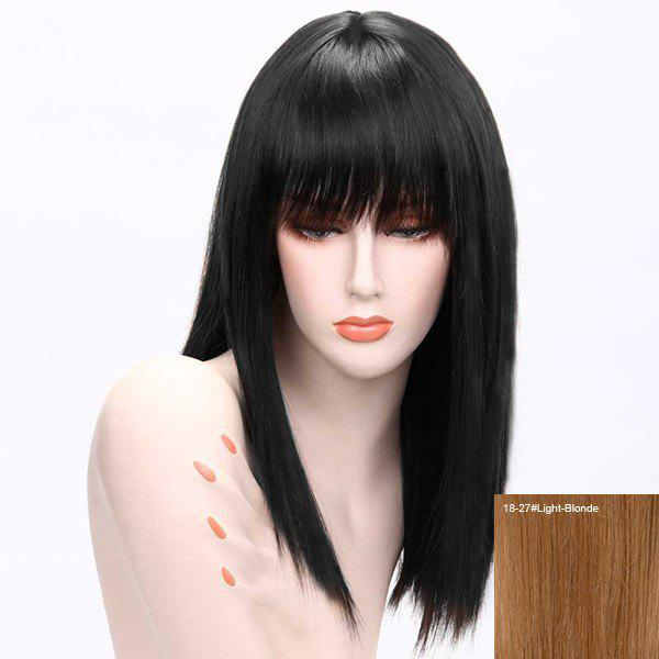 Long Human Hair Full Bang Straight Wig - LIGHT BLONDE