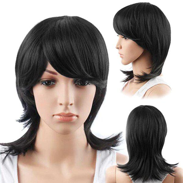 Medium Inclined Bang Straight Human Hair Wig - JET BLACK