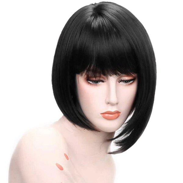 Short Neat Bang Asymmetric Straight Bob Human Hair Wig - JET BLACK