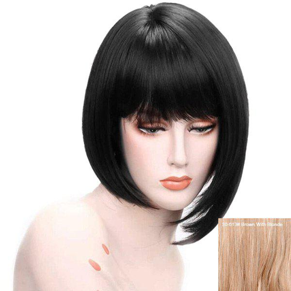Short Neat Bang Asymmetric Straight Bob Human Hair Wig - BROWN/BLONDE