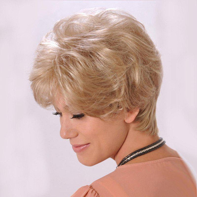 Short Inclined Bang Shaggy Slightly Curled Human Hair Wig - BLONDE