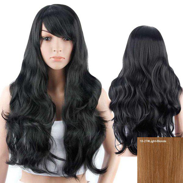 Long Inclined Bang Layered Wavy Human Hair Wig - LIGHT BLONDE