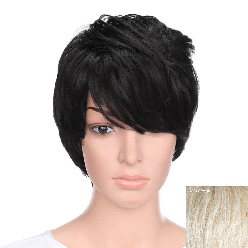 Short Inclined Bang Natural Straight Human Hair - OFF WHITE