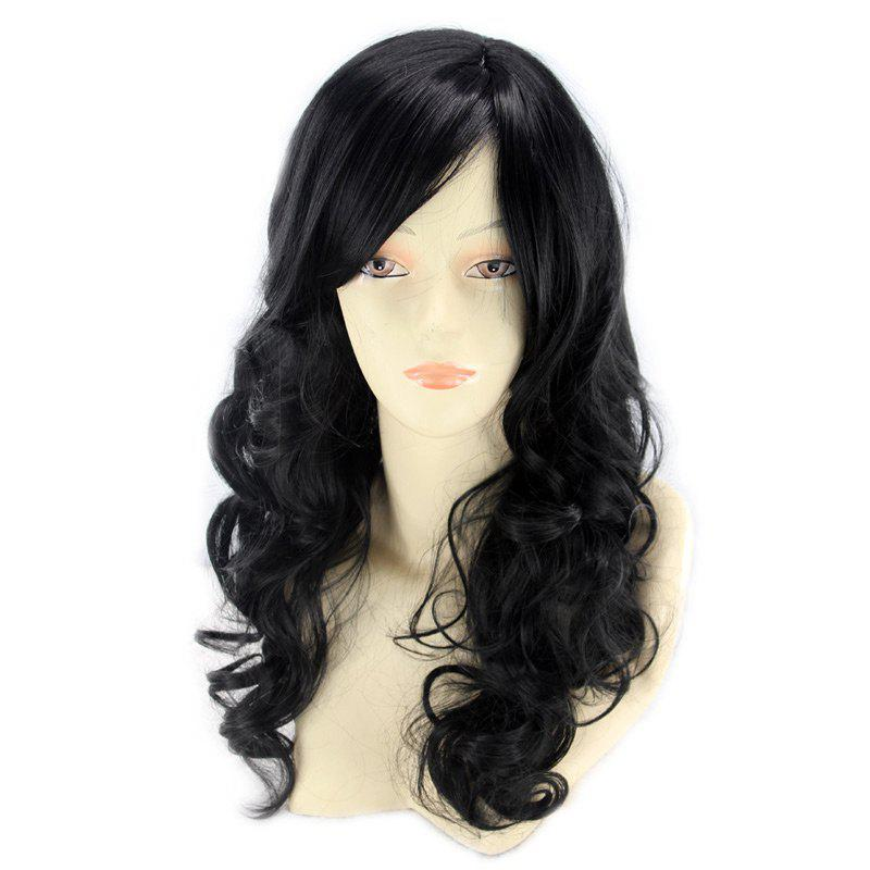 Human Hair Long Inclined Bang Wavy Wig - JET BLACK