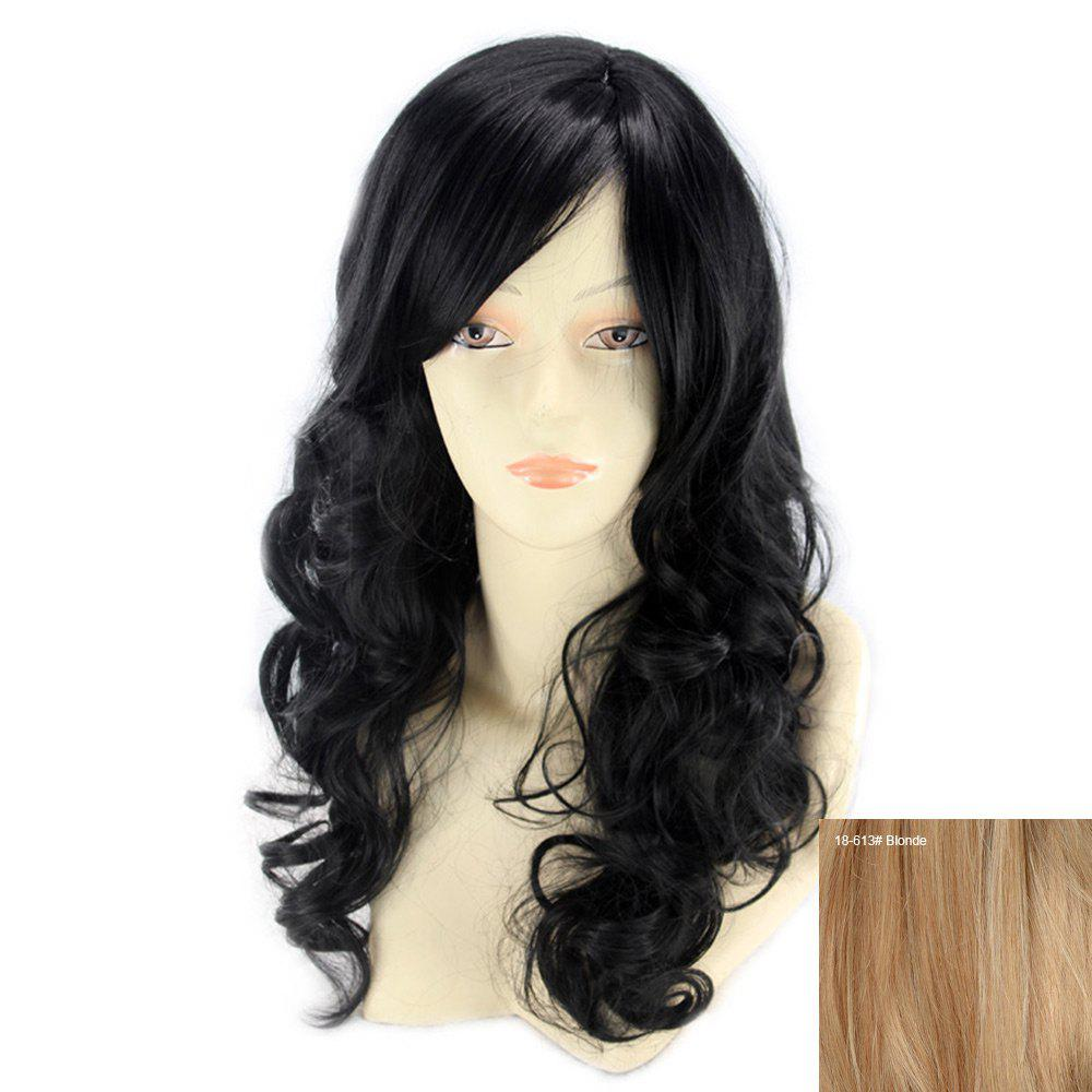 Human Hair Long Inclined Bang Wavy Wig - BLONDE