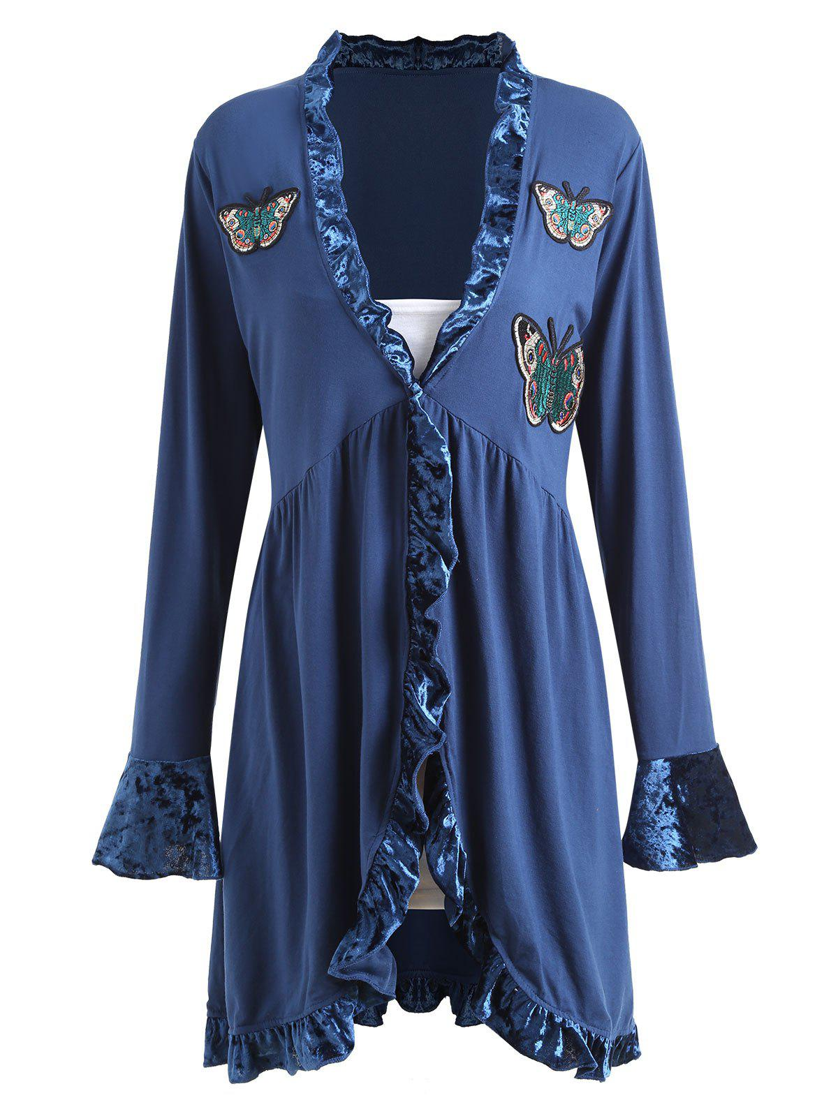 Plus Size Ruffle Butterfly Embroidered Velvet Panel Coat - BLUE 2XL