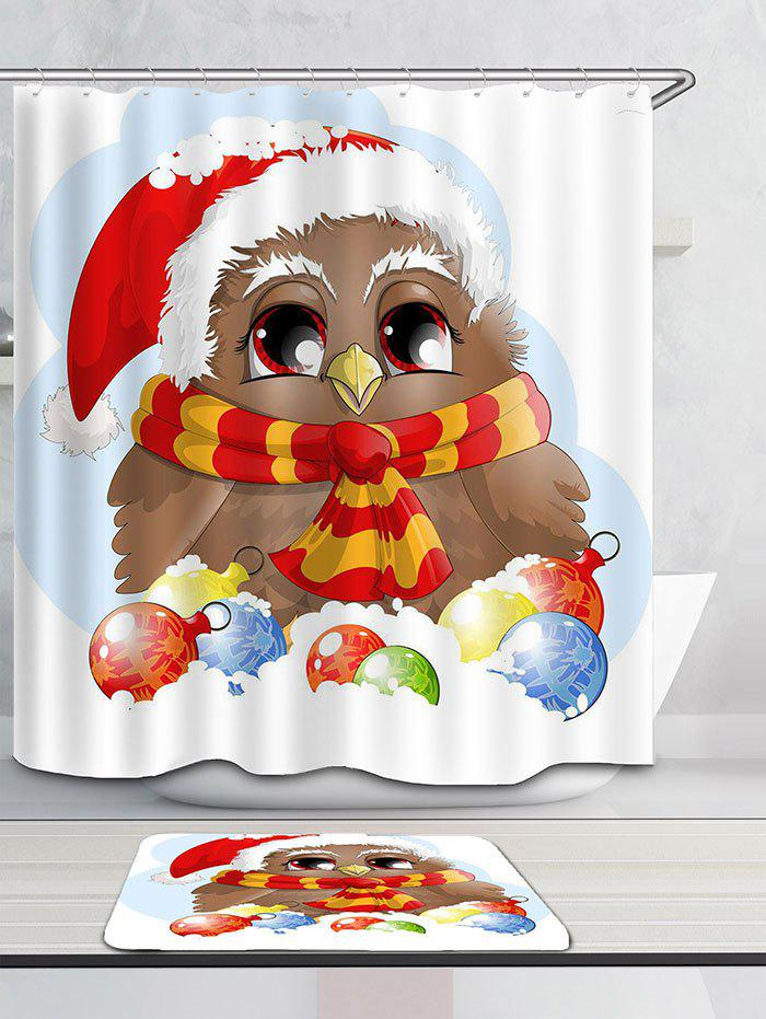 Christmas Bird Pattern Waterproof Shower Curtain - COLORFUL W71 INCH * L79 INCH