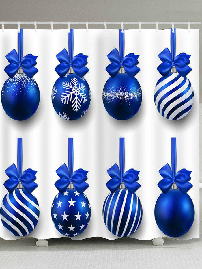 Christmas Blue Balls Pattern Waterproof Shower Curtain - BLUE W71 INCH * L79 INCH
