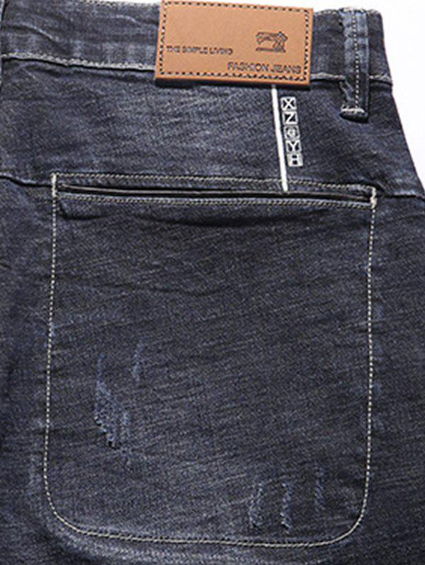 Zipper Fly Tapered Fit Pockets Jeans - DEEP BLUE 36