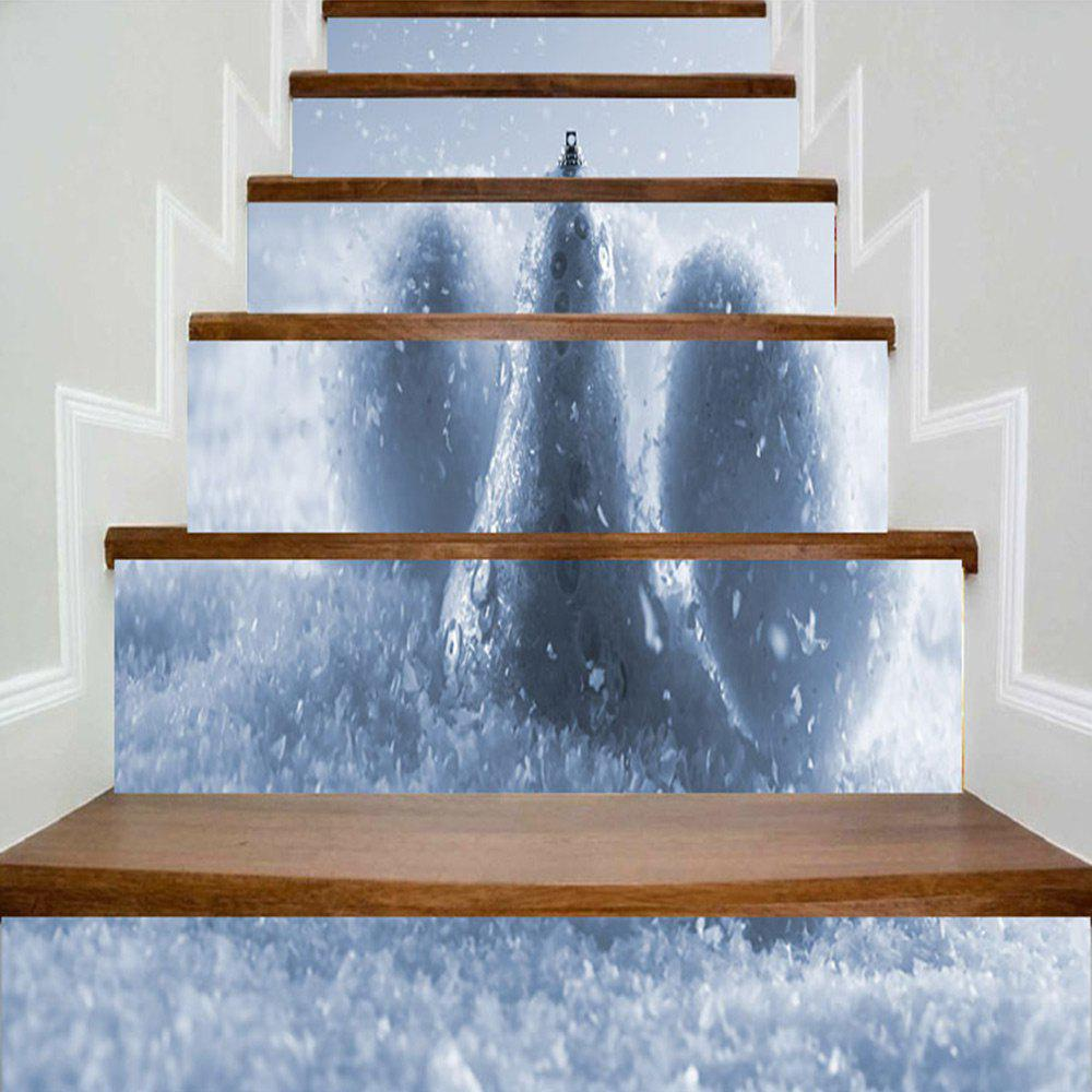 Christmas Snowball Print Stair Stickers - BLUE GRAY 100*18CM*6PCS