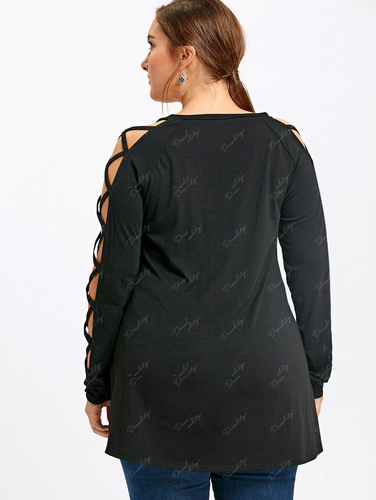 Plus Size Lattice Cutout Dip Hem Tee - BLACK 3XL