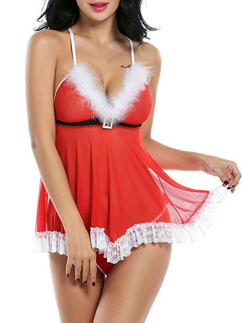 Santa Lingerie Low Cut Sheer Babydoll - RED XL