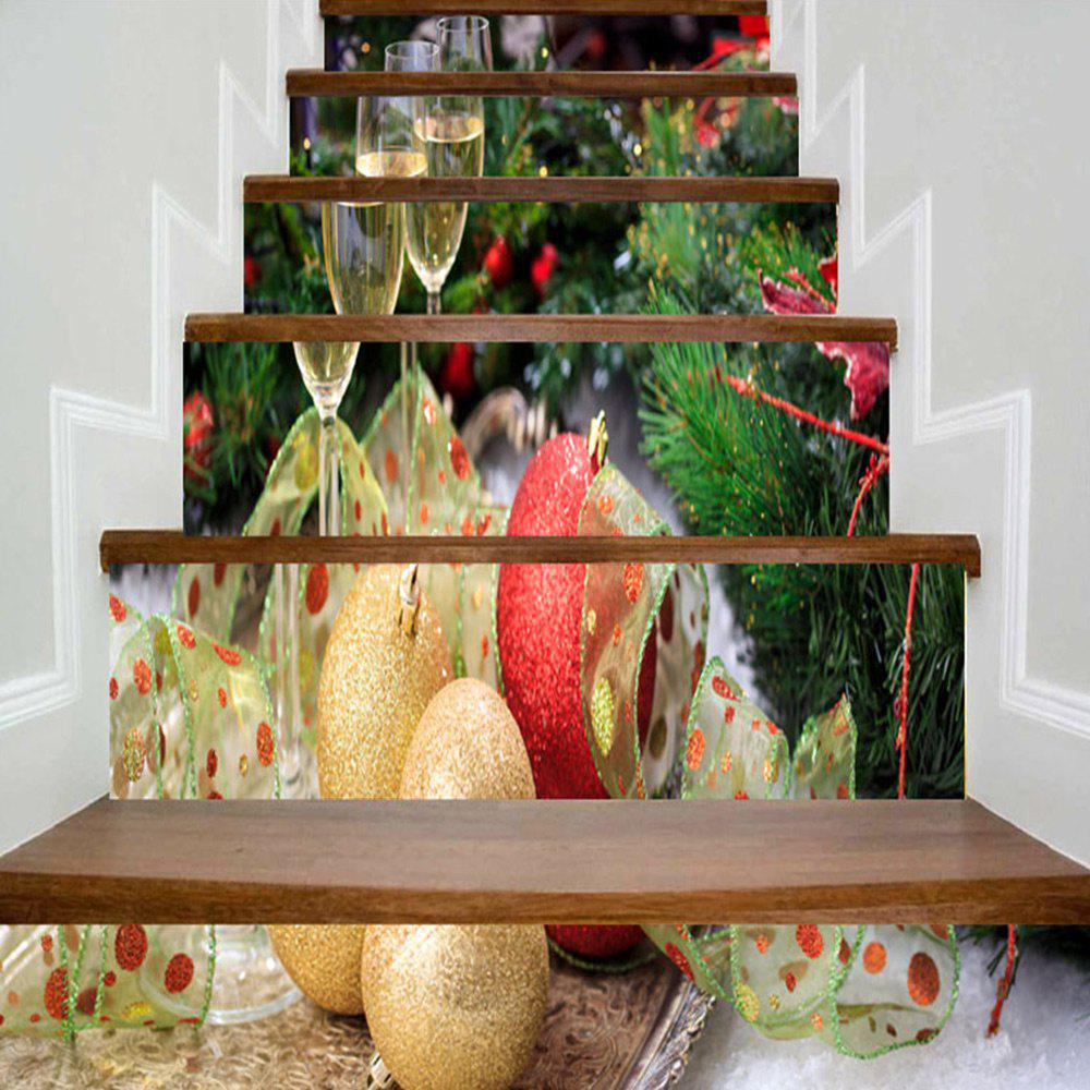 Christmas Wine Glass and Ball Printed Stair Stickers - COLORMIX 100*18CM*6PCS