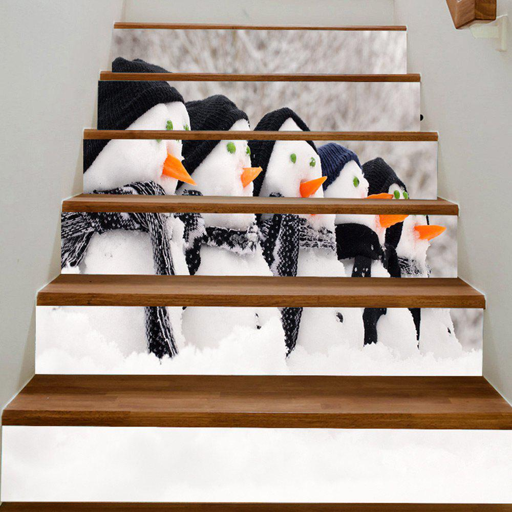 Christmas Snowman Pattern Reusable Home Ornament Stair Stickers - COLORFUL 100*18CM*6PCS