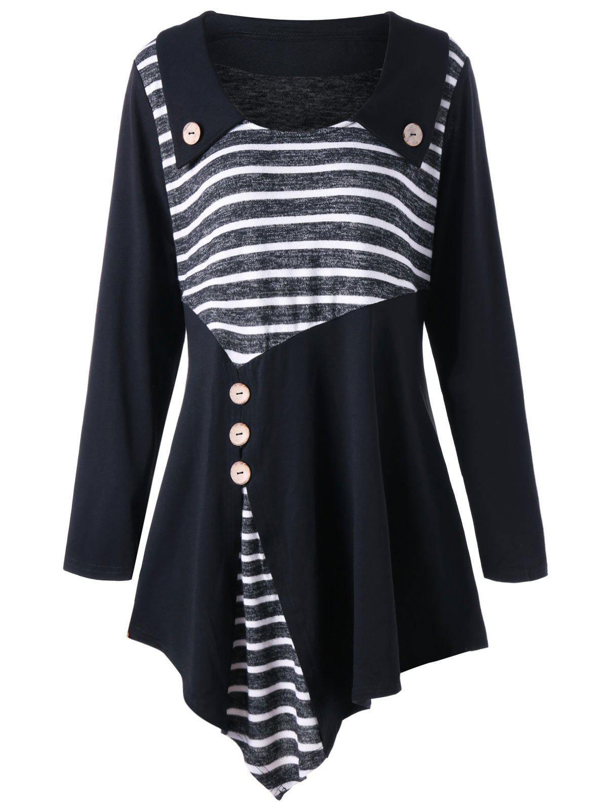 Plus Size Striped Asymmetric Tunic Top plus size print tunic asymmetric top