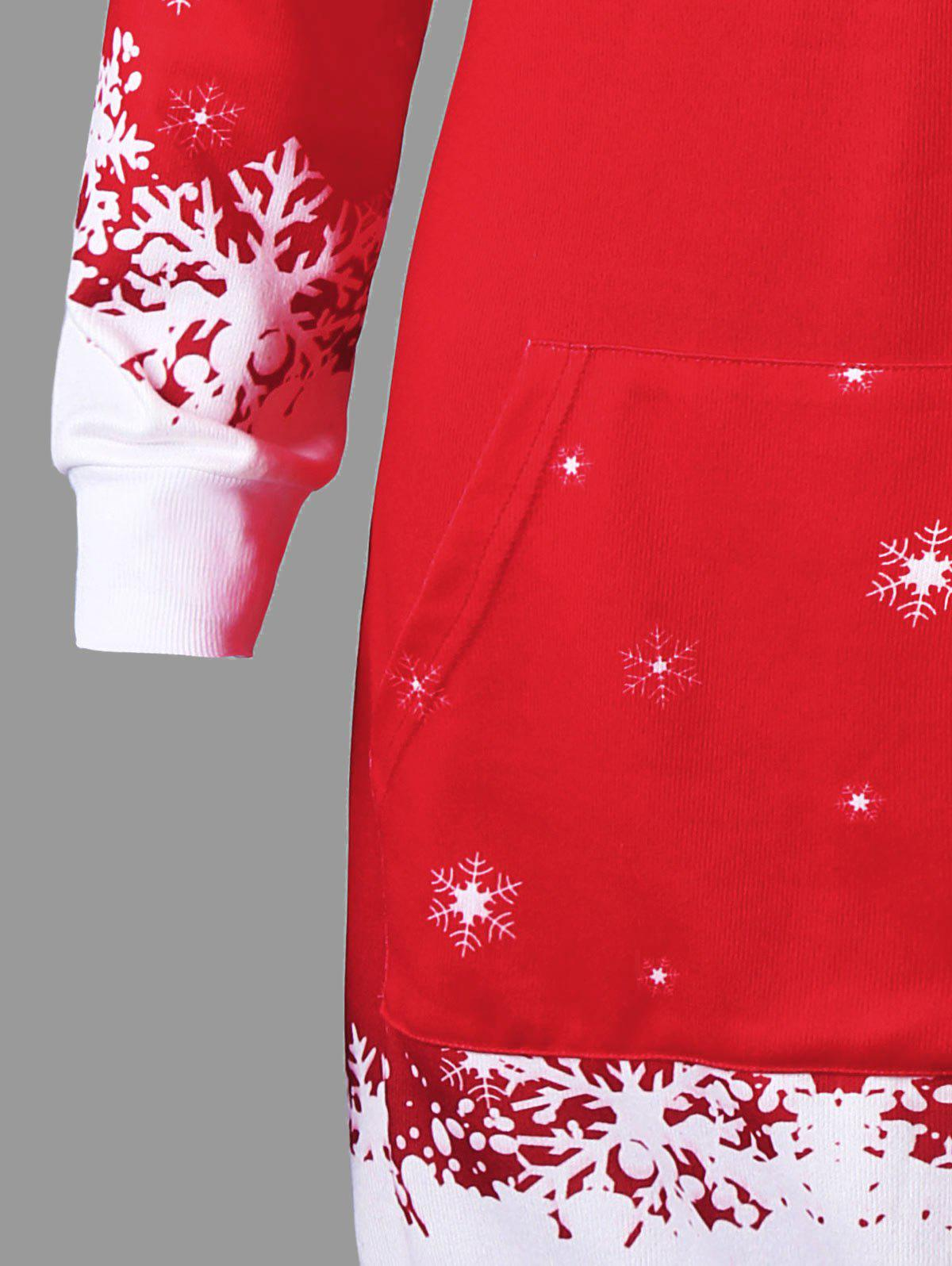 Christmas Hooded Santa Claus Print Dress - RED L