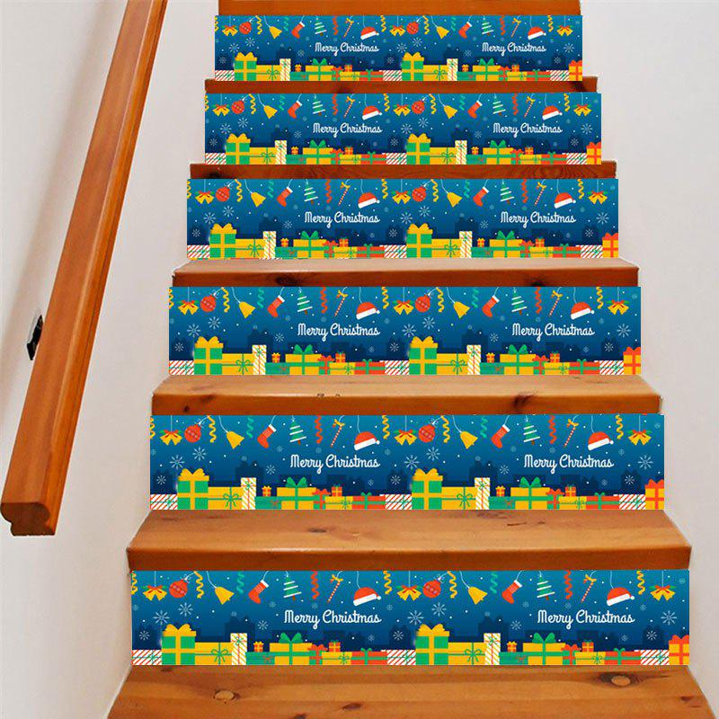 Christmas Gifts Elements Print DIY Decorative Stair Stickers - COLORMIX 100*18CM*6PCS