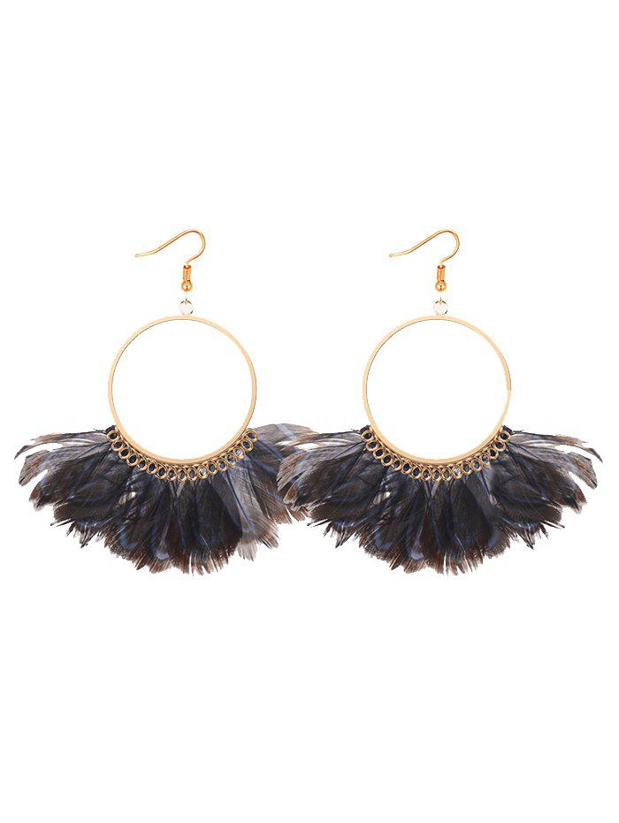 Bohemian Feather Circle Hook Earrings трафарет feather circle 1