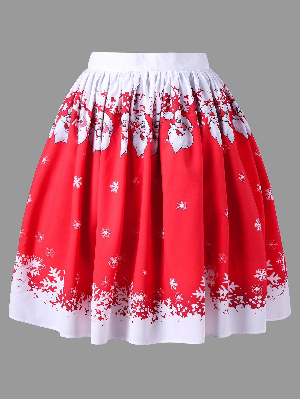 Christmas Plus Size Santa Claus Skirt - RED 2XL
