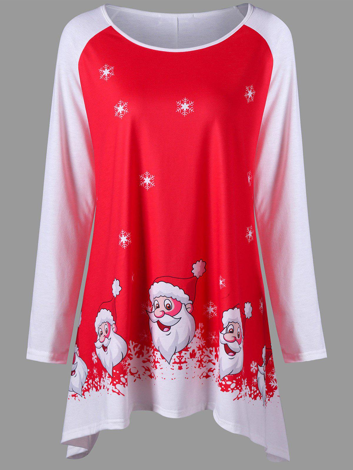 Christmas Plus Size Santa Claus Tunic Top - RED 4XL