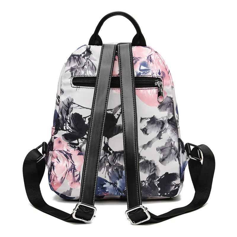 Flower Print Backpack With Headphone Hole - FLORAL