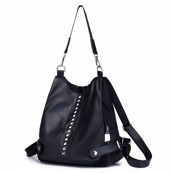 Faux Leather Studs Multi Function Backpack - BLACK