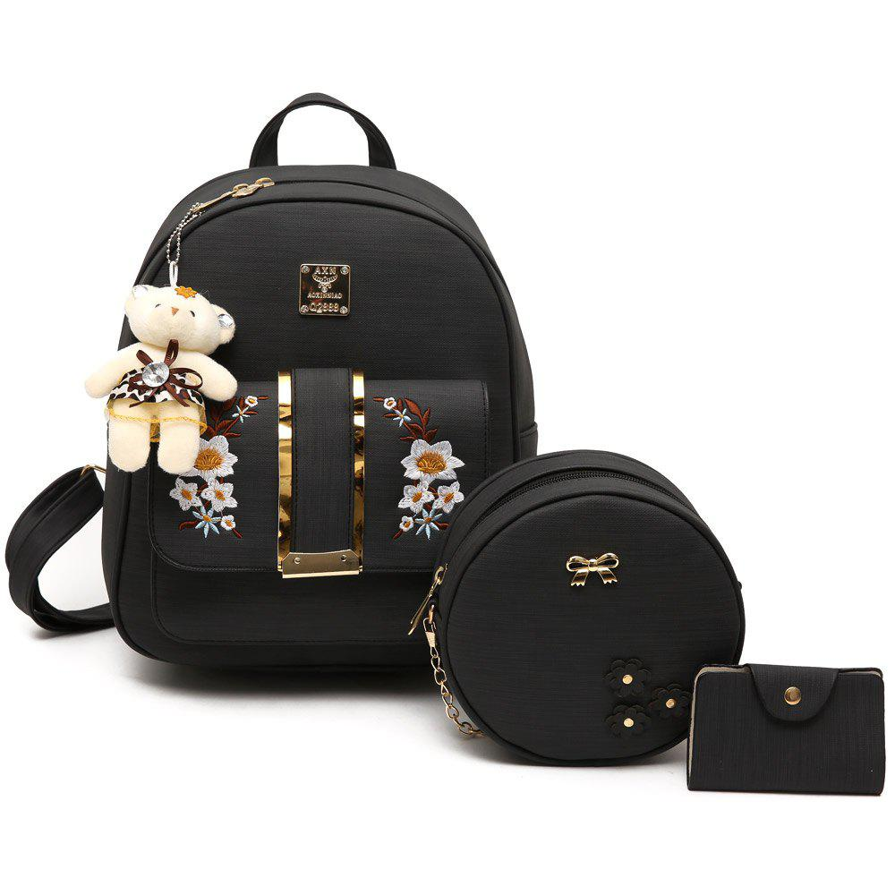 Metallic Flower Embroidery 3 Pieces Backpack Set - BLACK