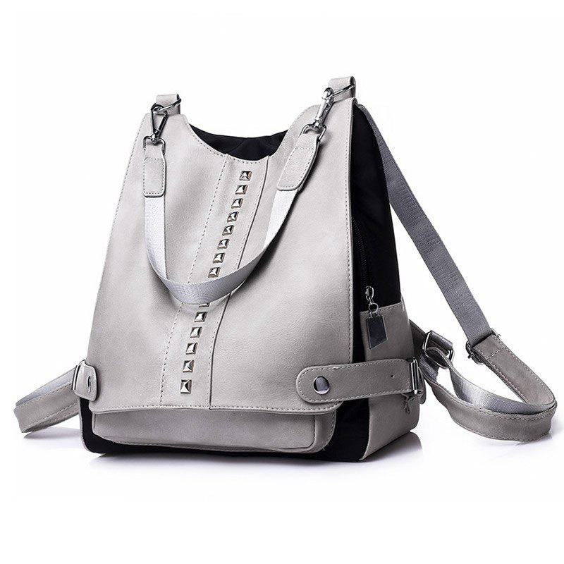 Faux Leather Studs Multi Function Backpack - GRAY
