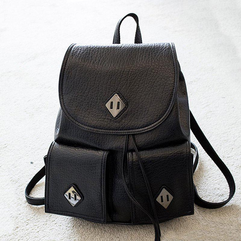 Metal Embellished Backpack With Handle - BLACK