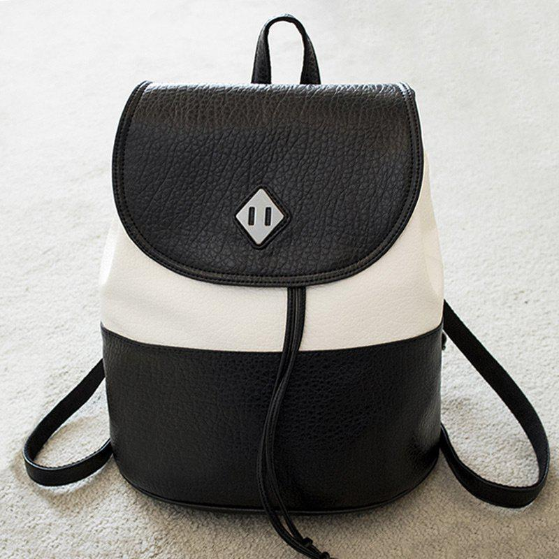 Top Handle Color Block Backpack - BLACK WHITE