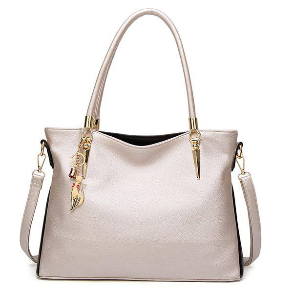 PU Leather Metallic Shoulder Bag - PEARL WHITE