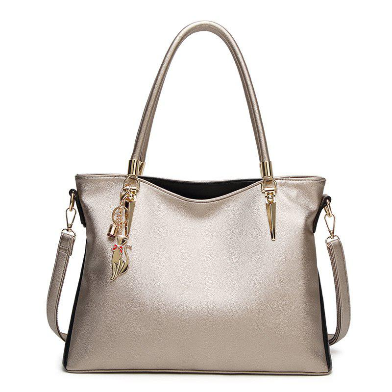 PU Leather Metallic Shoulder Bag - CHAMPAGNE