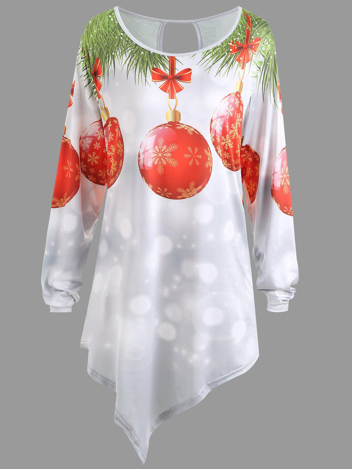 Christmas Snowflake Ball Asymmetrical Plus Size T-shirt - WHITE 2XL