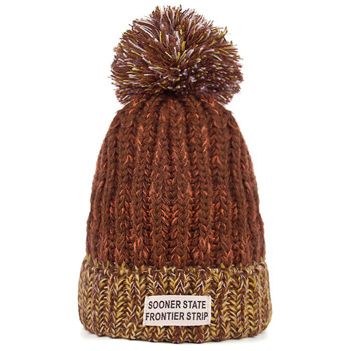 Outdoor Colormix Letter Label Decorated Flanging Knitted Beanie - BROWN