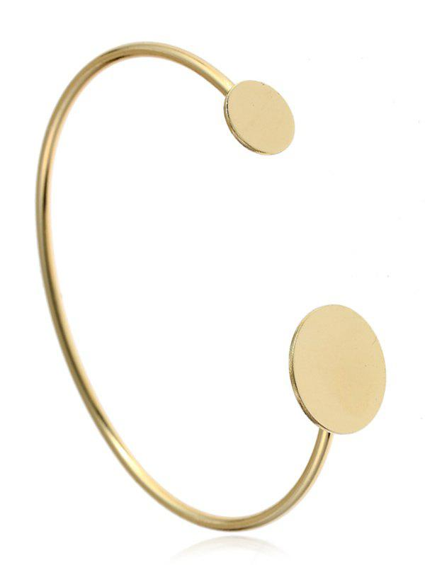 Simple Alloy Round Cuff Bracelet - GOLDEN